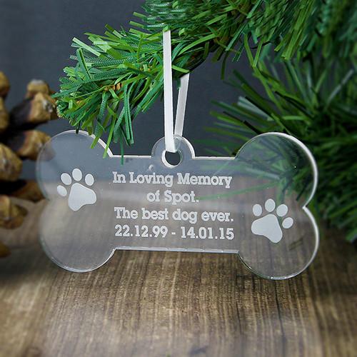 Personalised Acrylic Dog Bone Decoration From Something Personal