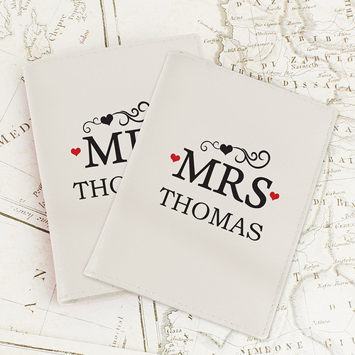 Personalised Mr & Mrs Cream Passport Holders From Something Personal