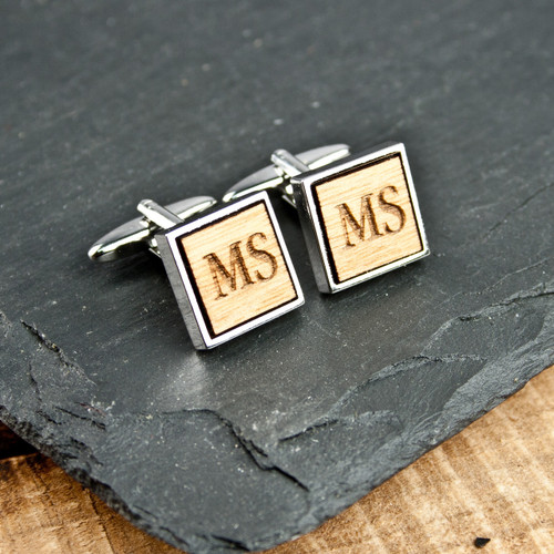 Personalised Square Wooden Cufflinks From Something Personal