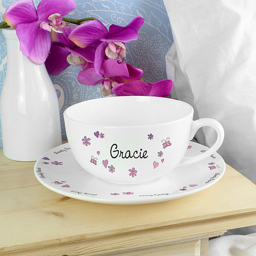 Personalised Flowers and Butterflies Teacup & Saucer From Something Personal