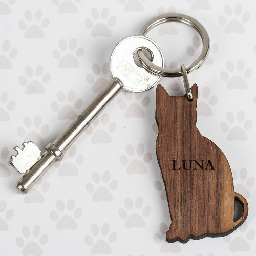 Personalised Walnut Wood Cat Shaped Keyring From Something Personal