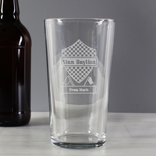 Personalised Formula 1 Pint Glass From Something Personal