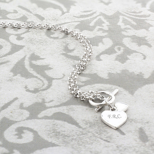 Personalised Hearts T-Bar Necklace From Something Personal