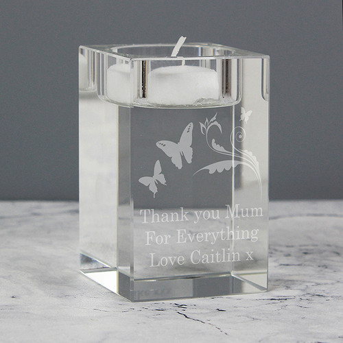 Personalised Butterfly Swirl Tea Light Candle Holder From Something Personal