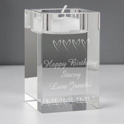 Personalised Small Hearts Tea Light Candle Holder From Something Personal