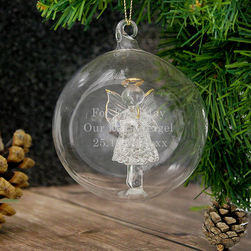 Personalised Glass Christmas Angel Bauble From Something Personal