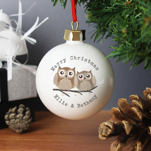 Personalised Woodland Owl Bauble From Something Personal