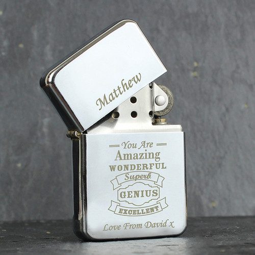 Personalised Vintage Typography Lighter From Something Personal