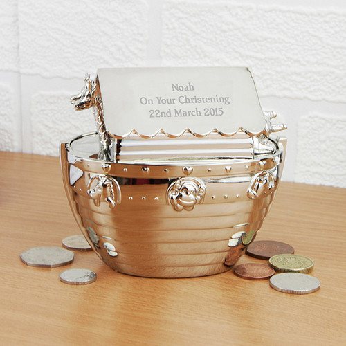 Personalised Silver Noah's Ark Money Box From Something Personal