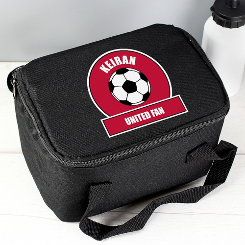 Personalised Red Football Fan Lunch Bag From Something Personal