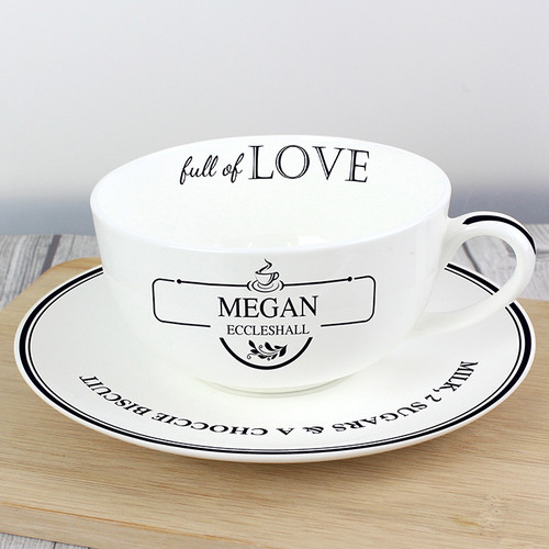 Personalised Full Of Love Teacup & Saucer From Something Personal