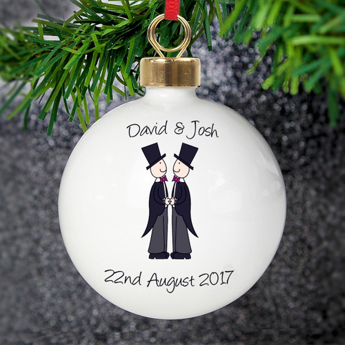 Personalised Male Wedding & Civil Partnership Bauble From Something Personal