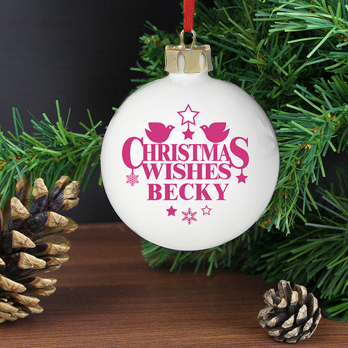 Personalised Christmas Wishes Bauble From Something Personal