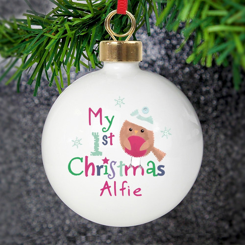 Personalised Felt Stitch Robin 'My 1st Christmas' Bauble From Something Personal