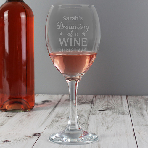 Personalised Dreaming Of A Wine Christmas... Wine Glass From Something Personal