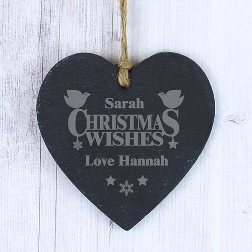 Personalised Christmas Wishes Slate Heart From Something Personal