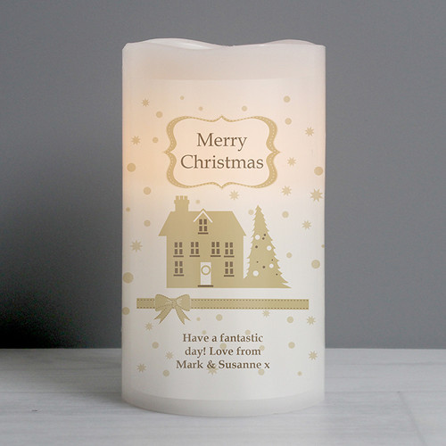 Personalised Festive Village LED Candle From Something Personal