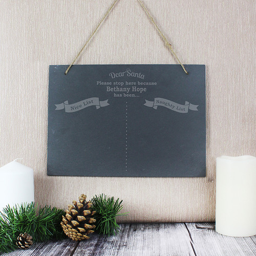Personalised Naughty & Nice Hanging Slate Sign From Something Personal