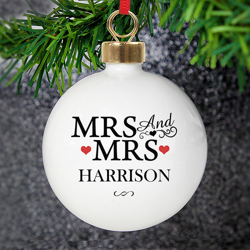 Personalised Mrs & Mrs Bauble From Something Personal