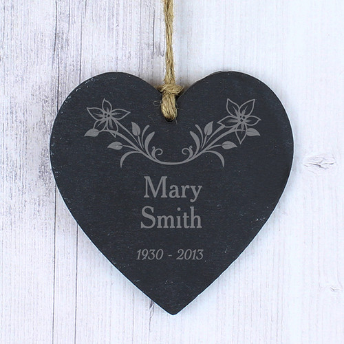 Personalised In Loving Memory Floral Slate Heart From Something Personal