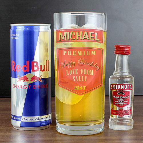 Personalised Vodka Glass & Red Bull Set From Something Personal