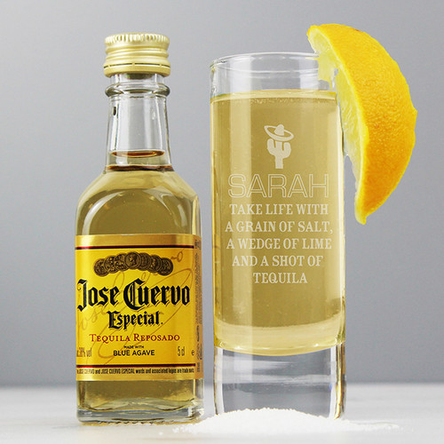 Personalised Tequila Shot Glass & Miniature Tequila From Something Personal