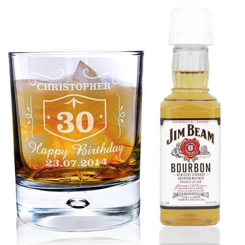 Personalised Whisky Style Glass & Bourbon Whisky Miniature Set From Something Personal