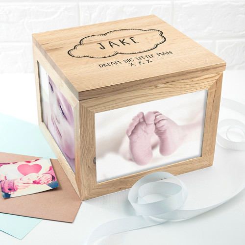 Personalised Baby Name In Cloud Oak Photo Keepsake Box From Something Personal