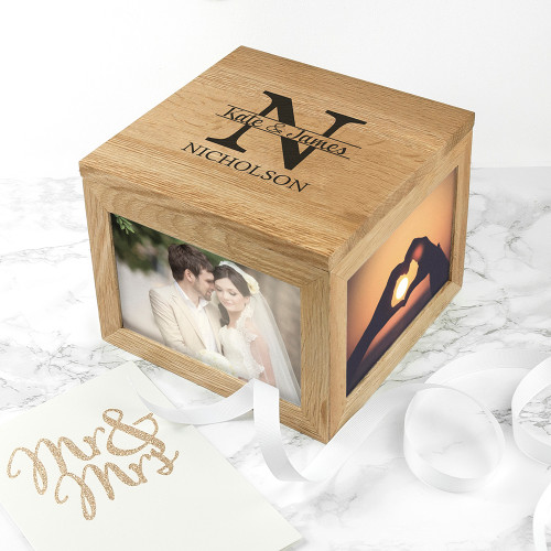 Personalised Oak Photo Keepsake Box With Couple Monogram From Something Personal