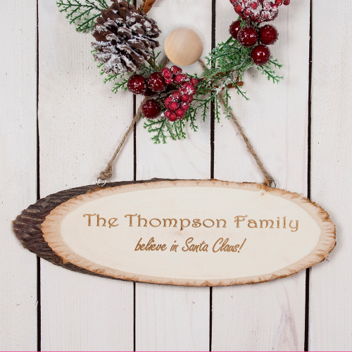 Personalised We Believe In Christmas Wooden Sign From Something Personal