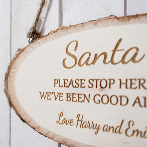 Personalised Santa Please Stop Here Wooden Sign From Something Personal