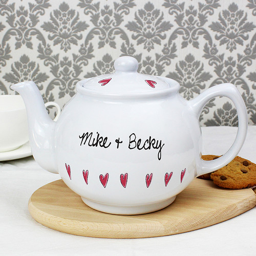 Personalised Hearts Teapot From Something Personal