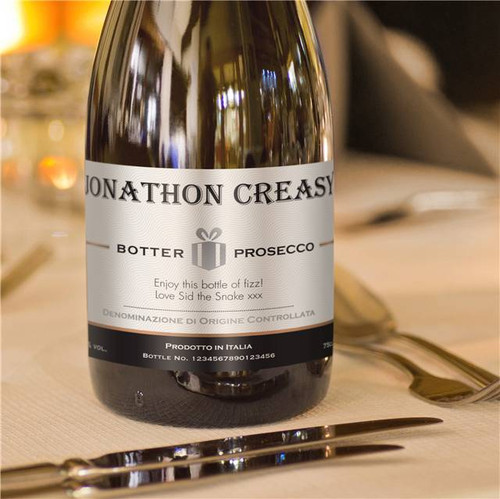 Personalised Contemporary Label Prosecco From Something Personal