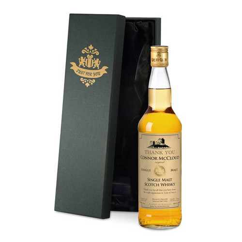 Personalised Single Malt Whisky With Thank You Label From Something Personal