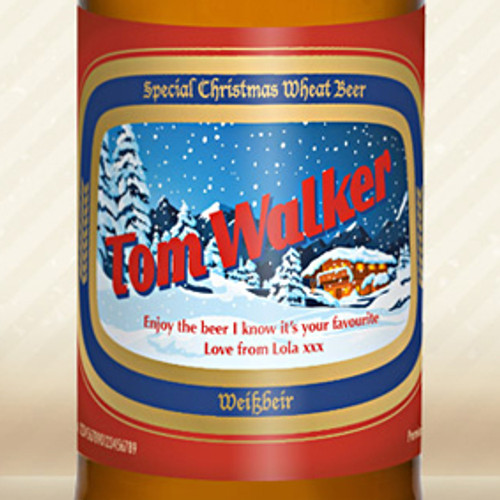Personalised Wheat Beer With Christmas Label From Something Personal