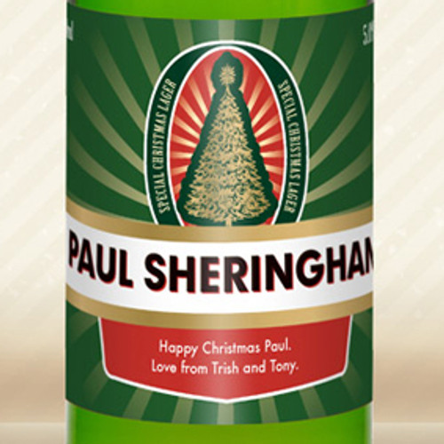 Personalised Lager With Christmas Label From Something Personal