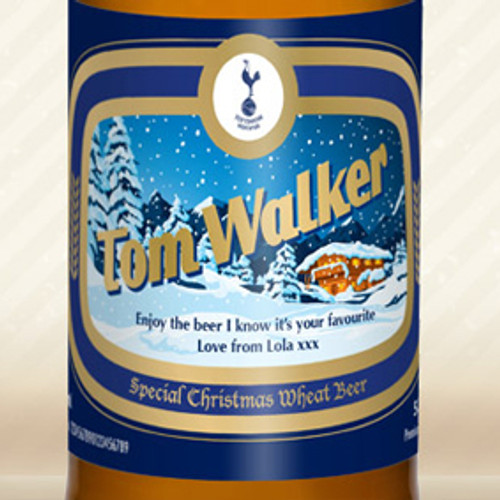 Personalised Spurs Wheat Beer With Christmas Label From Something Personal