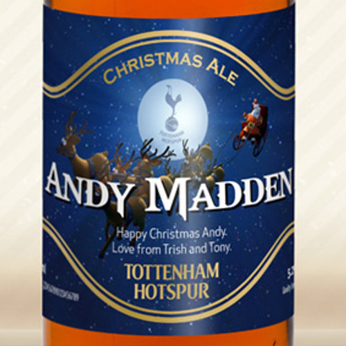 Personalised Spurs Beer With Christmas Label From Something Personal