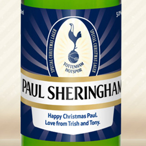 Personalised Spurs Lager With Christmas Label From Something Personal