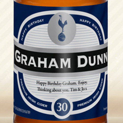 Personalised Spurs Birthday Label Cider From Something Personal