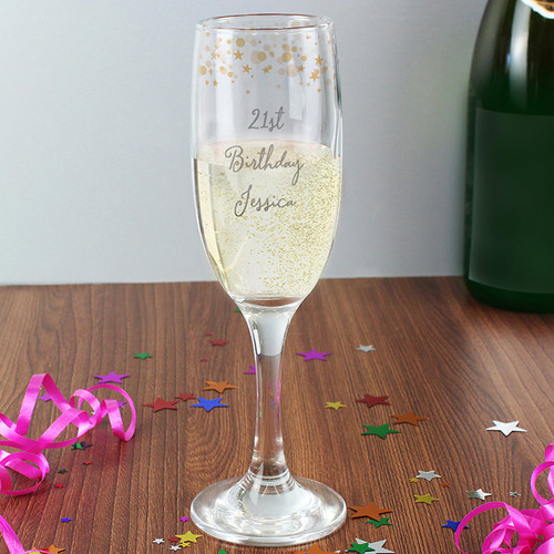 Personalised Gold Stars Glass Flute From Something Personal