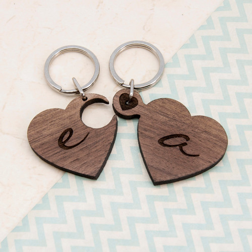 Personalised 2 Heart Jigsaw Wooden Key Ring From Something Personal