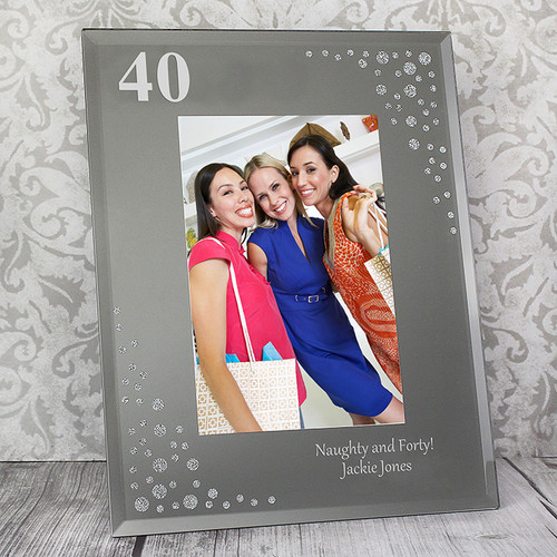 Personalised Big Age Diamante Glass Photo Frame From Something Personal