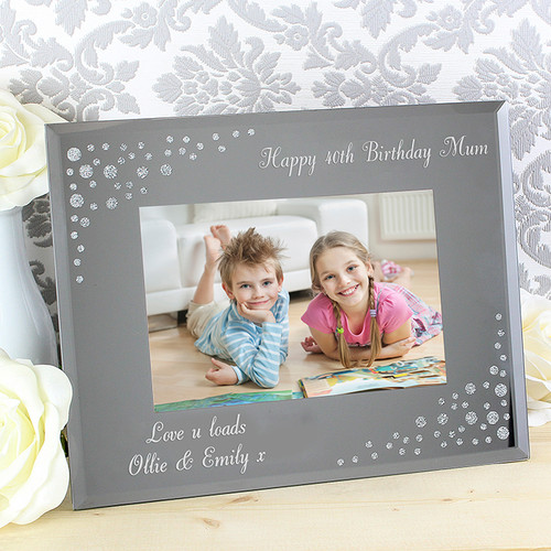 Personalised Diamante Landscape Glass Photo Frame From Something Personal