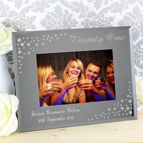 Personalised Twenty One Diamante Glass Photo Frame From Something Personal