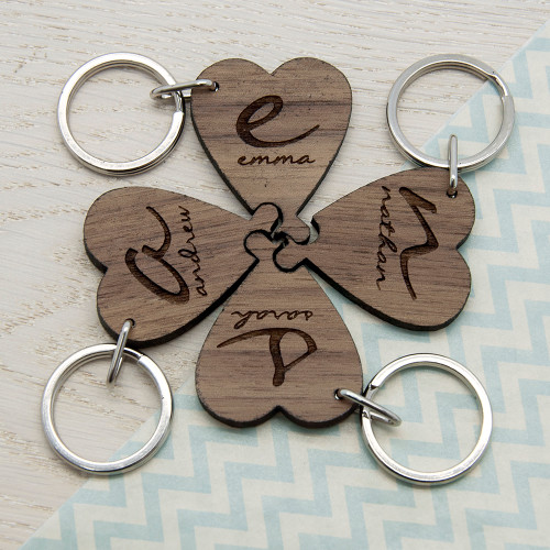 Personalised Best Friends Forever Heart Wooden Keyring From Something Personal