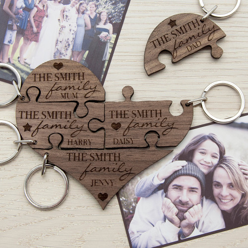 Personalised Our Family Heart Jigsaw Keyring From Something Personal