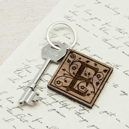 Personalised Decorative Initial Wooden Keyring From Something Personal