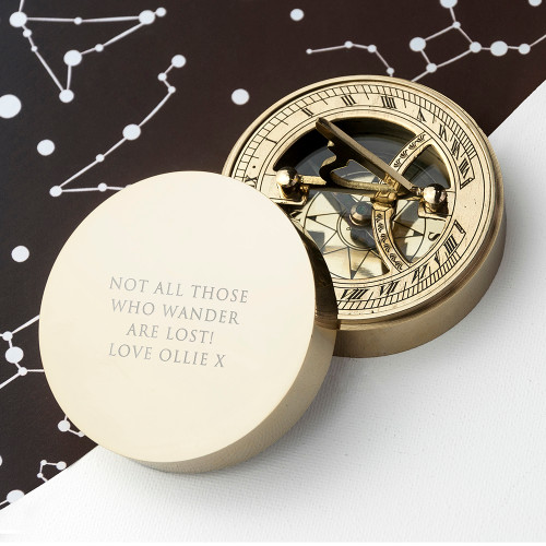 Personalised Adventurer's Brass Sundial & Compass From Something Personal
