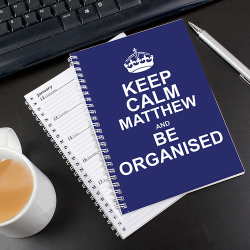 Personalised Keep Calm Blue A5 Diary From Something Personal